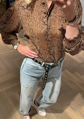 ALIX THE LABEL Ladies woven animal crepe blouse