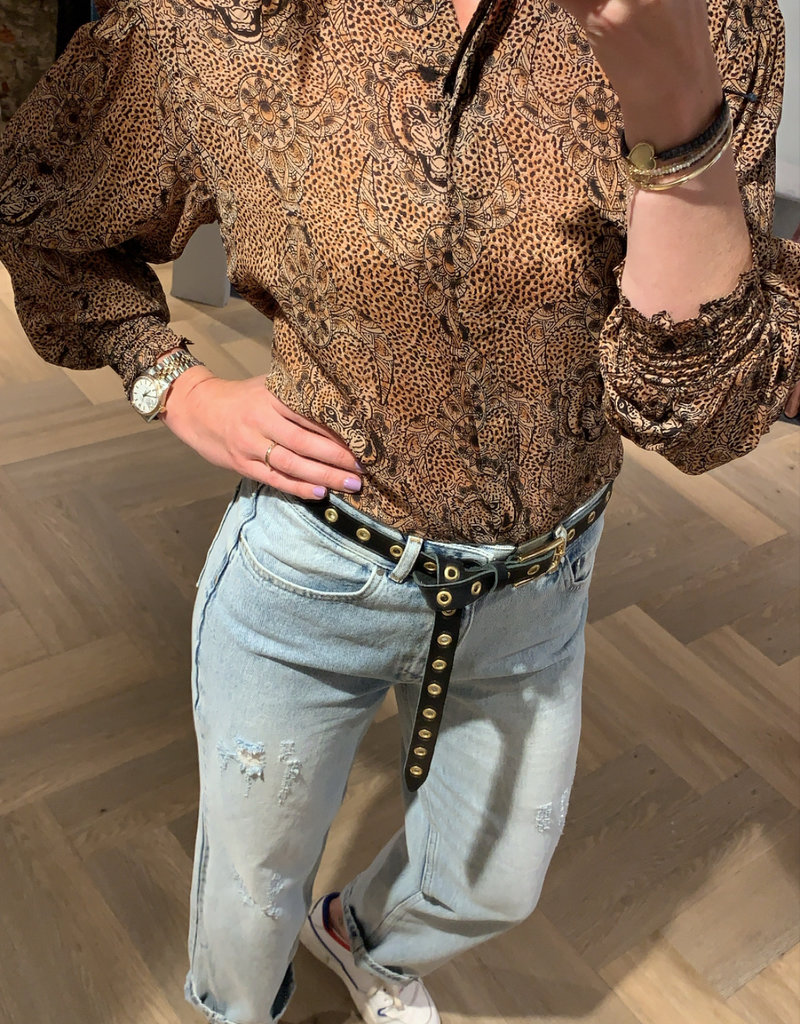 ALIX THE LABEL Ladies woven animal crepe blouse