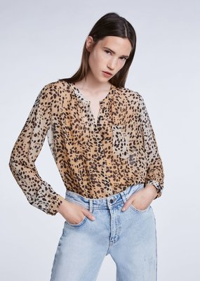 SET FASHION Blouse with cheetah print