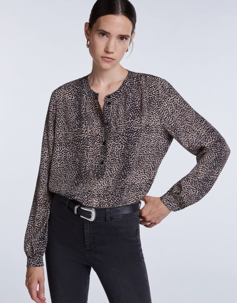 SET FASHION Blouse with leopard print