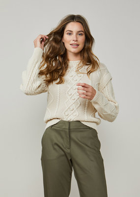 SUMMUM WOMAN 7s5538-7791 Cable sweater wool blend knit