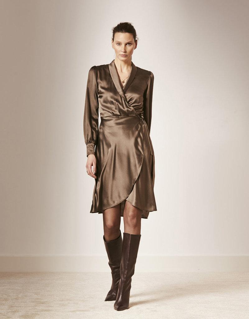 DANTE6 Frieda silk stretch wrap-dress