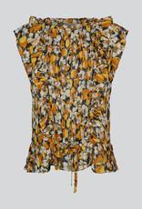 SUMMUM WOMAN 2S2571-11409 TOP SUNNY FLOWER PRINT BRIGHT OCHRE