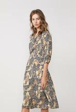 SUMMUM WOMAN 5S1246-30236 DRESS COLOURFUL ANIMAL PRINT BRIGHT OCHRE