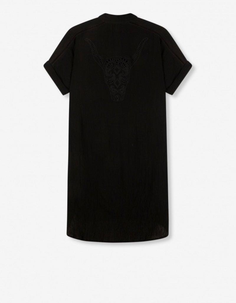 ALIX THE LABEL LUREX STRIPE CRINKLE TUNIC DRESS BLACK