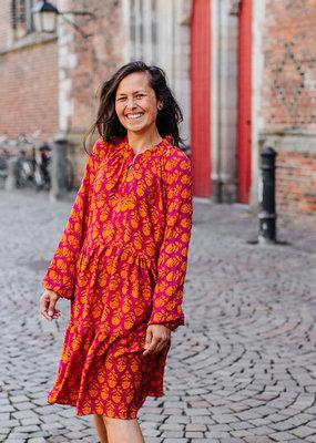 SISSEL EDELBO INES DRESS ORANGE RED