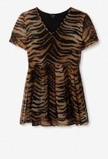 ALIX THE LABEL TIGER CRINKLE CHIFFON DRESS ANIMAL