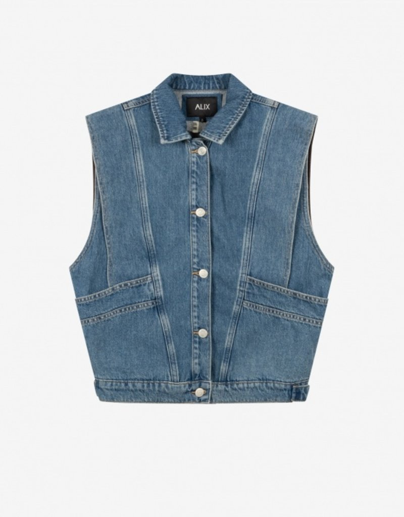 ALIX THE LABEL EMBROIDERED DENIM WAISTCOAT BLUE