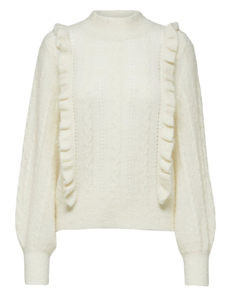 SELECTED FEMME SLFTRUE LS CABLE KNIT HIGH B SNOW WHITE