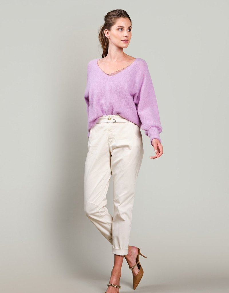 SUMMUM WOMAN 4s2160-11322 TAPERED PANT FINE TWILL IVORY