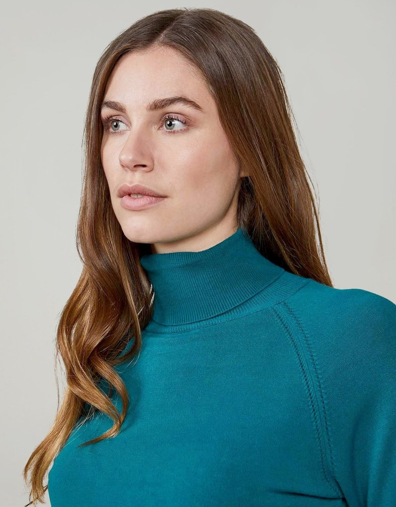 SUMMUM WOMAN 7s5529-7830 TURTLE NECK SWEATER KNIT TEAL