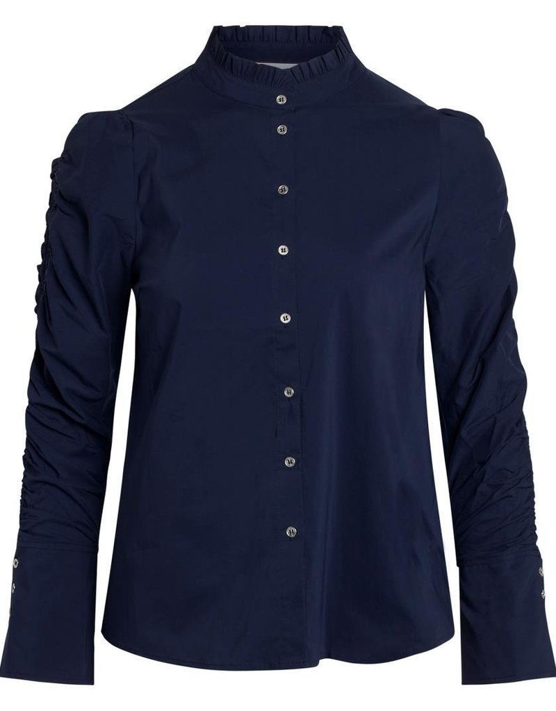 CO'COUTURE SANDY ELASTIC SLEEVE SHIRT NAVY