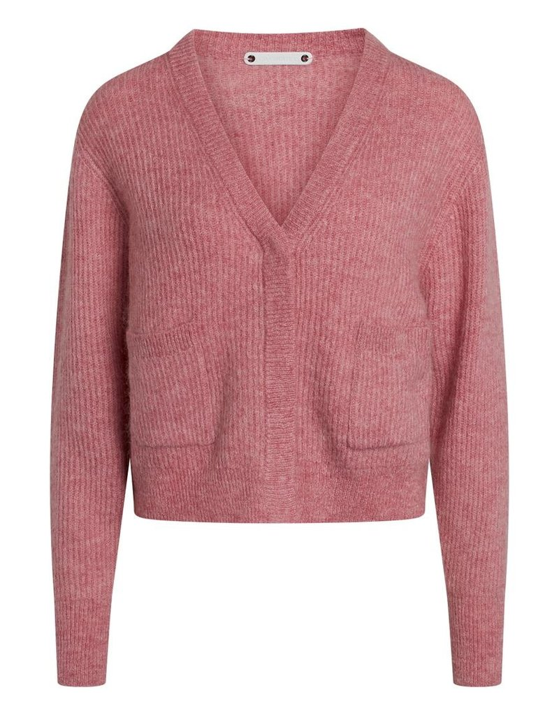 CO'COUTURE LEONA V-KNIT CARDIGAN OLD ROSE