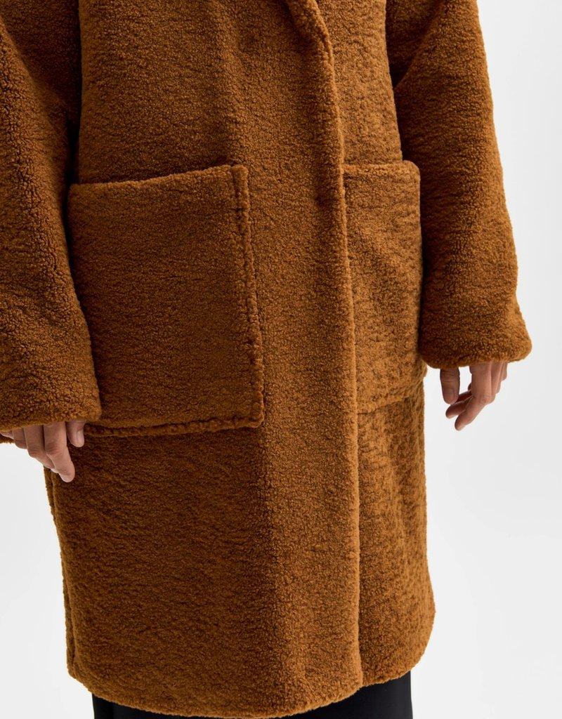 SELECTED FEMME SLFNEW NANNA TEDDY COAT RUBER