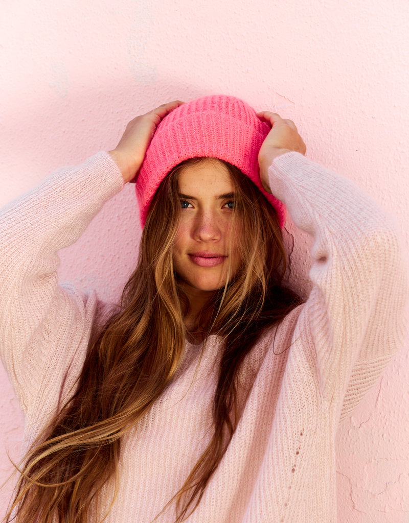 LESELLES KNITWEAR MOHAIR HAT OLIVIA CORAL CRUSH