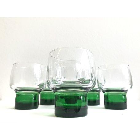 Glazen groene voet set van 6