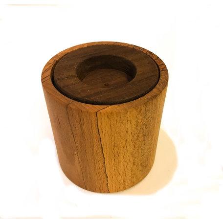 houten kaarshouder