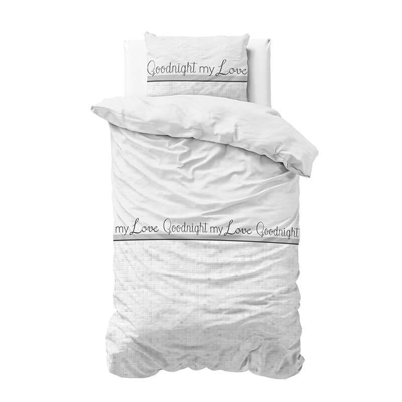 Dekbedovertrek Goodnight My Love - 2 1-persoons (140x220 cm) - Katoen - Tekst, Romantisch - Wit - Ga