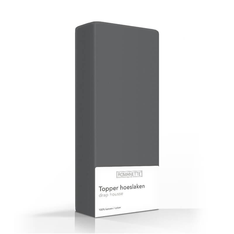 Romanette Luxe Verkoelend Katoenen Topper Hoeslaken - Antraciet 160 x 200