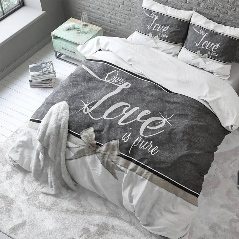 Sleeptime Elegance Pure Love – Wit 2-persoons (200 x 220 cm + 2 kussenslopen) Dekbedovertrek