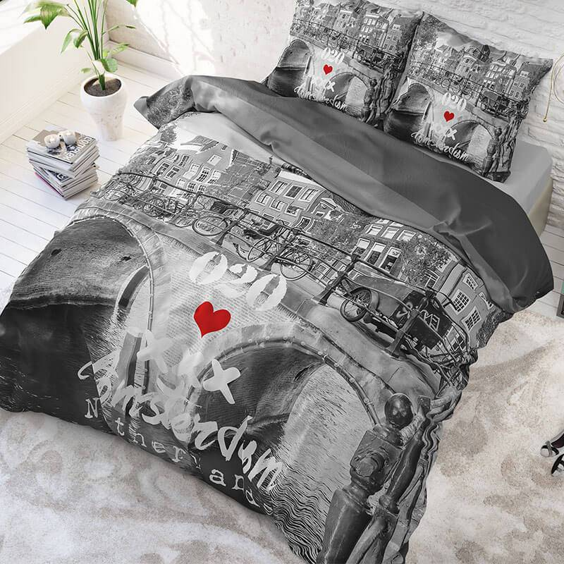 DreamHouse Bedding Amsterdam 020 - Antraciet 1-persoons (140 x 220 cm + 1 kussensloop)