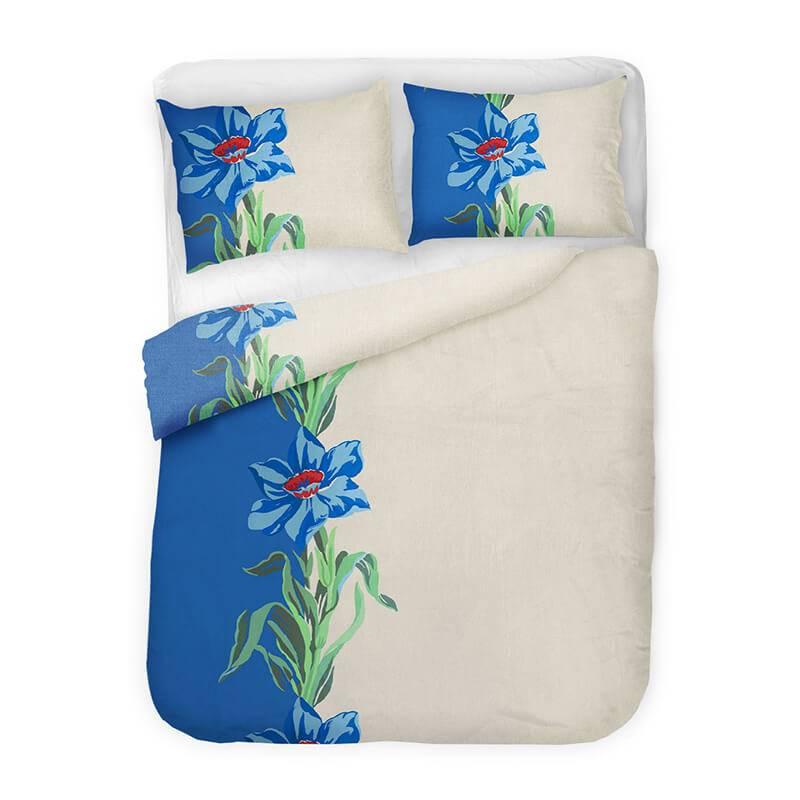 Afbeelding van Dekbedovertrek Monica Blauw Dreamhome Bloemen 2 Persoons (200x200/220 cm)