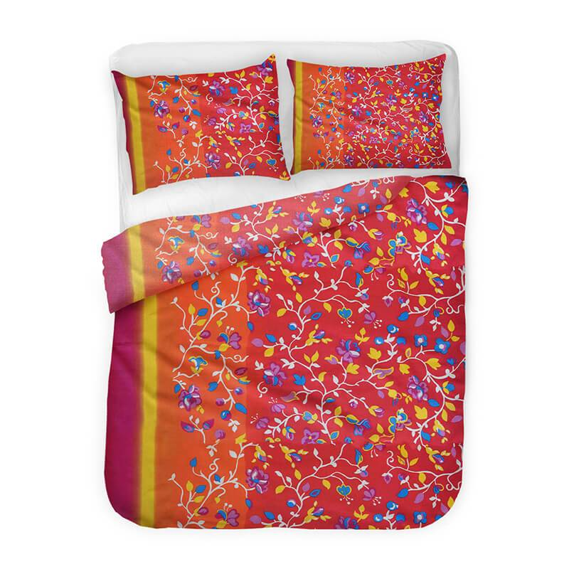 Productafbeelding voor 'Barbarella Marbella - Rood Lits-jumeaux (240 x 200/220 cm + 2 kussenslopen) Dekbedovertrek'