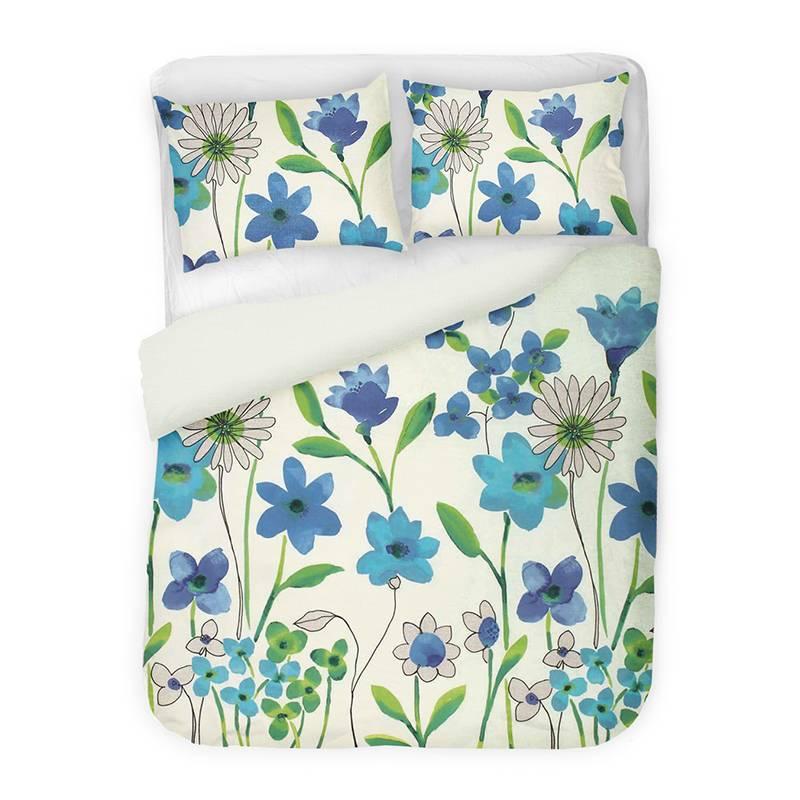 Productafbeelding voor 'Dreamhome Fleurette - Blauw Lits-jumeaux (240 x 200/220 cm + 2 kussenslopen) Dekbedovertrek'