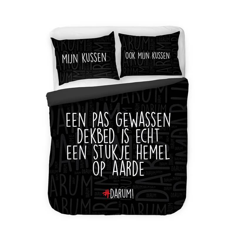 Afbeelding van Dekbedovertrek #DARUM! Stukje Hemel Zwart Tekst, Modern 1 persoons (140x220 cm)