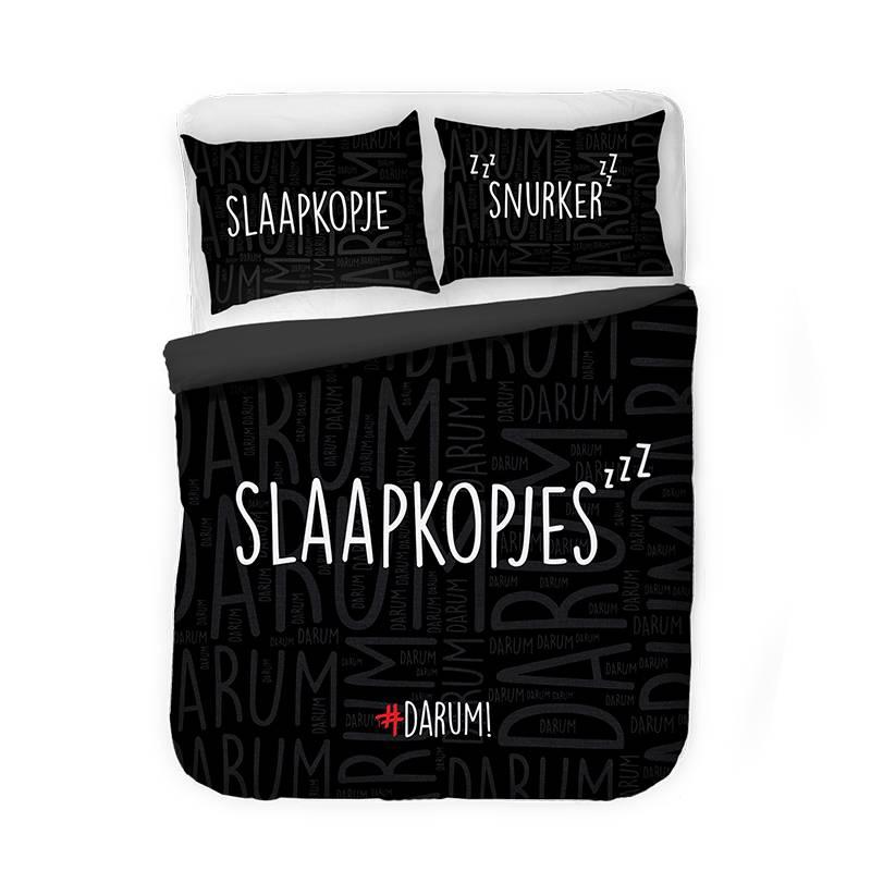 Afbeelding van Dekbedovertrek #DARUM! Slaapkopjes Zwart Tekst/Romantisch/Modern 1 Persoons (140x220 cm)