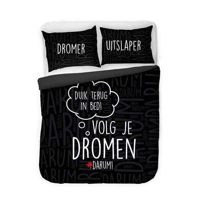 Afbeelding van Dekbedovertrek #DARUM! Duik terug Zwart Tekst/Modern Lits Jumeaux (240x220 cm)