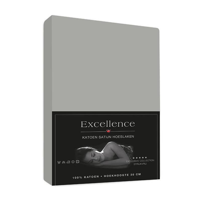 Productafbeelding voor 'Excellence Katoen Satijn Hoeslaken - Grijs 180 x 200'