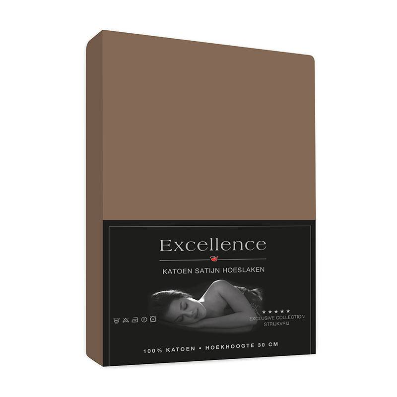 Excellence Hoeslaken Satijn - Taupe 160 x 220