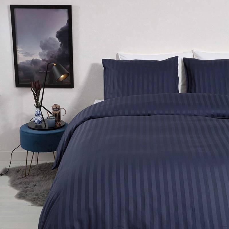 Dekbed-Discounter Satin Stripes – Blauw 1-persoons (140 x 200/220 cm + 1 kussensloop) Dekbedovertrek