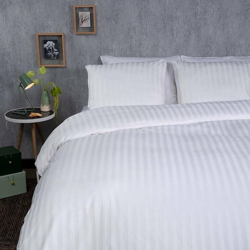 Dekbed-Discounter Satin Stripes – Wit 1-persoons (140 x 200/220 cm + 1 kussensloop) Dekbedovertrek