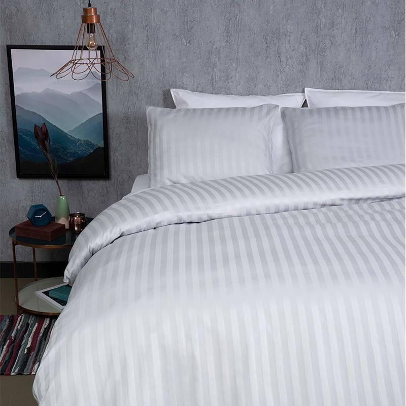 Dekbed-Discounter Satin Stripes – Zilver Grijs Lits-jumeaux (240 x 200/220 cm + 2 kussenslopen) Dekbedovertrek