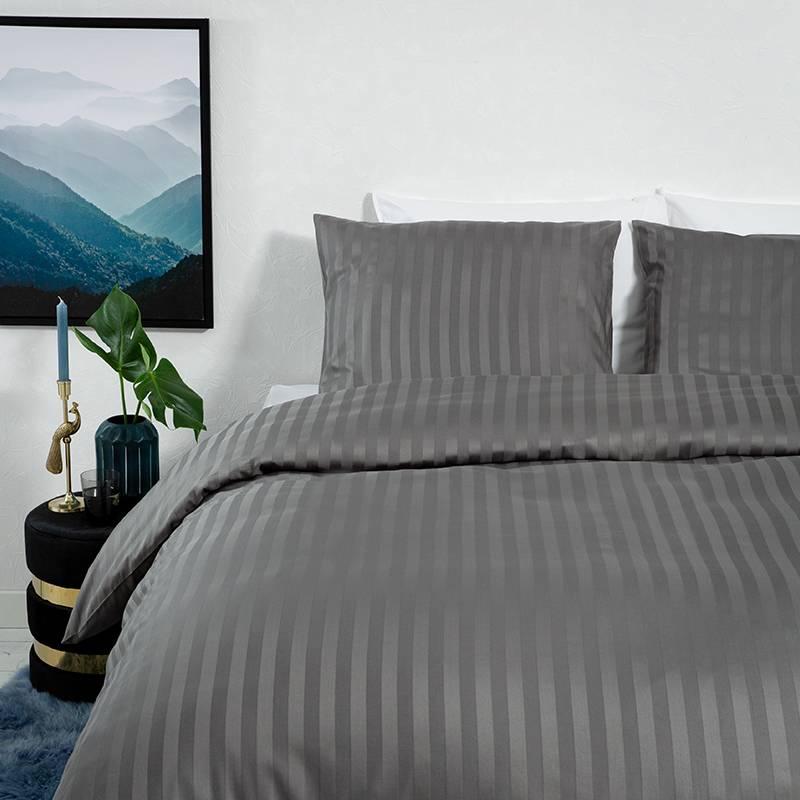 Dekbed-Discounter Satin Stripes – Donker Grijs 1-persoons (140 x 200/220 cm + 1 kussensloop) Dekbedovertrek