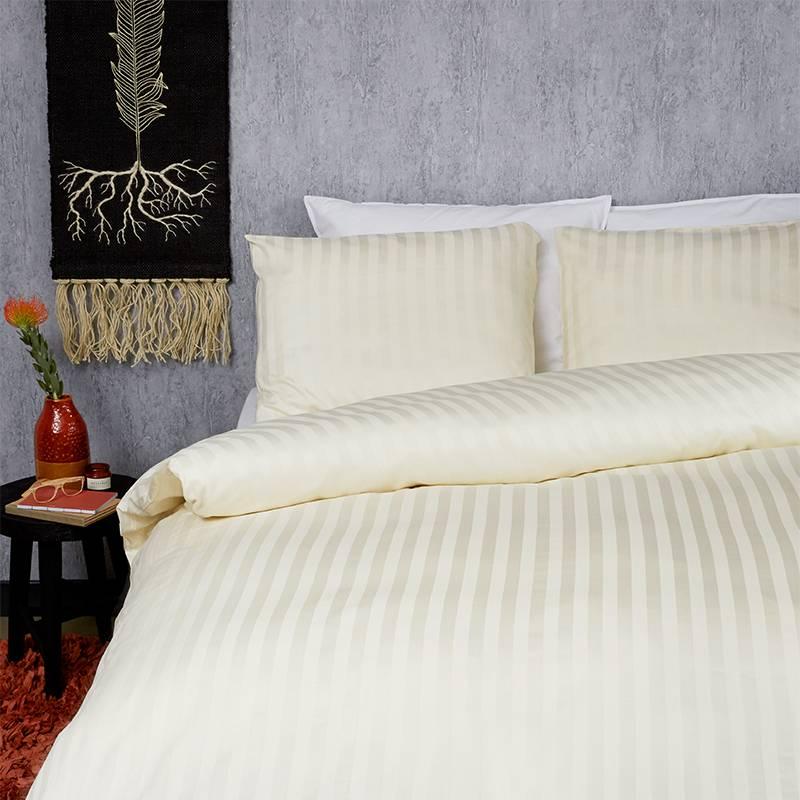 Dekbed Discounter Satin Stripes – Ivoor 1-persoons (140 x 200/220 cm + 1 kussensloop) Dekbedovertrek