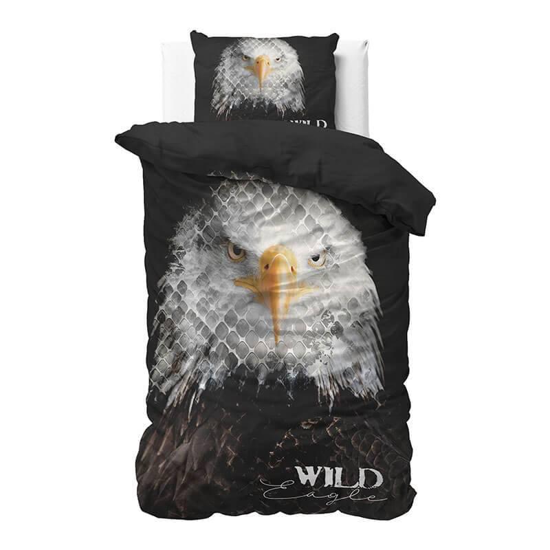 Dekbedovertrek Wild Eagle 1-persoons (140x220 cm) - Katoen - Tekst - Zwart, - Ga naar Dekbed-Discoun
