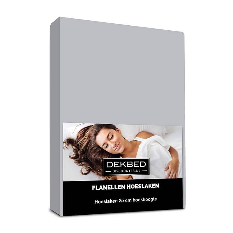 Dekbed-Discounter Verwarmend Flanel Hoeslaken - Grijs 80/90 x 200