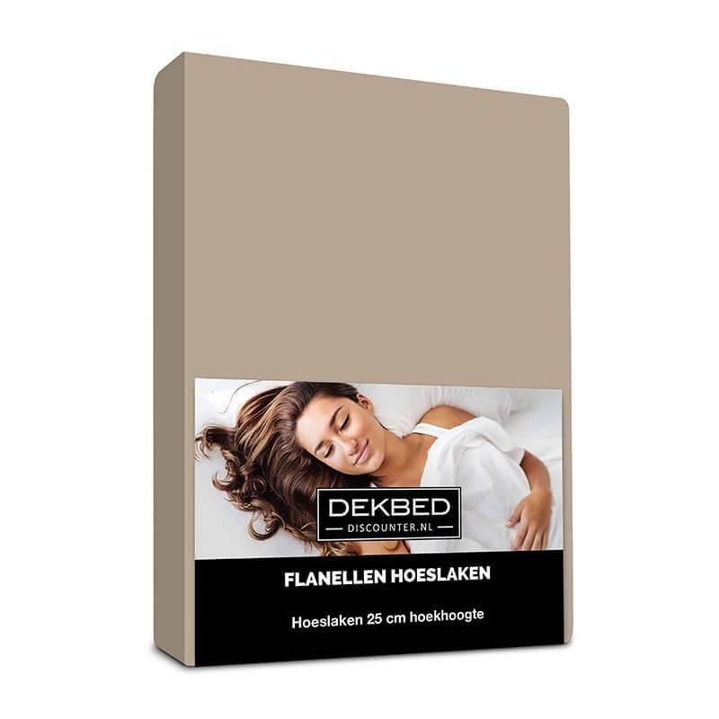 Dekbed-Discounter Verwarmend Flanel Hoeslaken - Taupe 80/90 x 200