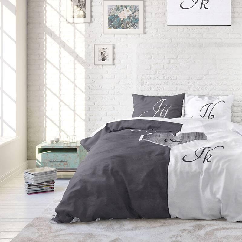 Sleeptime Jij en Ik – Grijs 1-persoons (140 x 220 cm + 1 kussensloop) Dekbedovertrek kopen