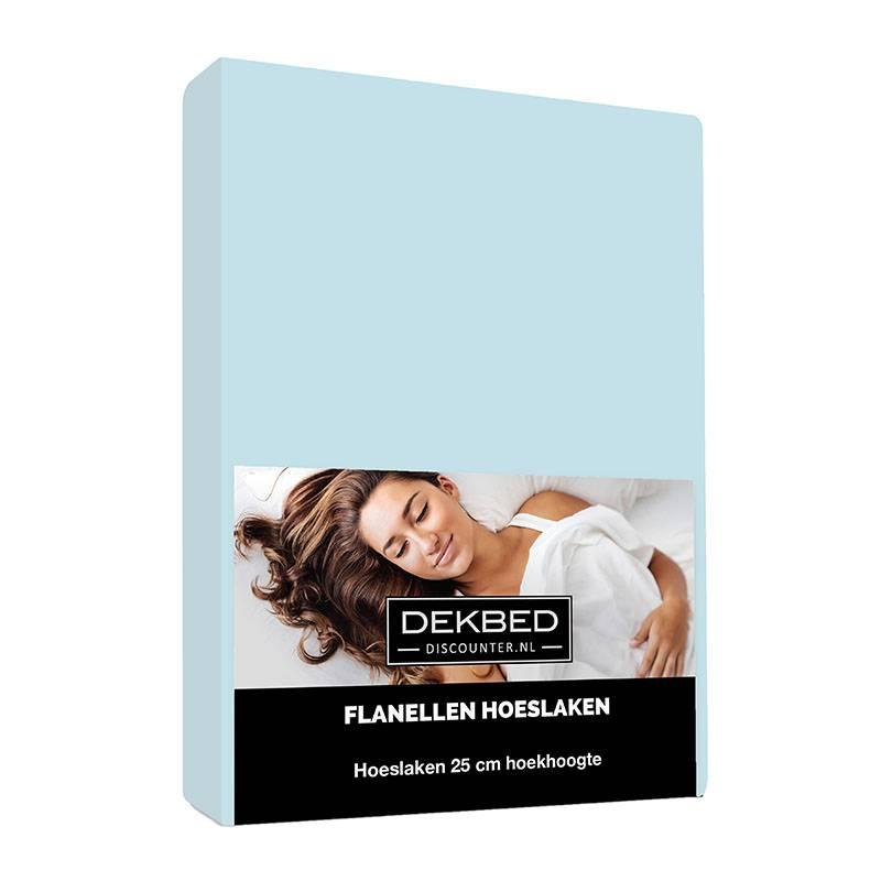 Dekbed-Discounter Verwarmend Flanel Hoeslaken - Blauw 80/90 x 200