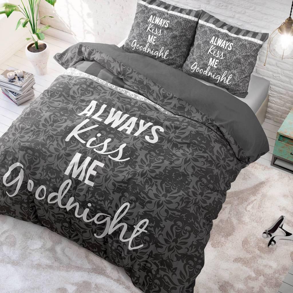 Sleeptime Kiss your Love - Grijs 1-persoons (140 x 220 cm + 1 kussensloop) Dekbedovertrek