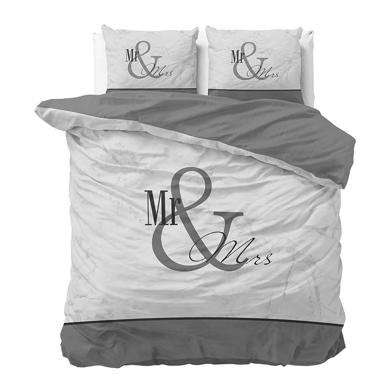 Sleeptime Mr and Mrs Marble - Antraciet Lits-jumeaux (240 x 220 cm + 2 kussenslopen) Dekbedovertrek