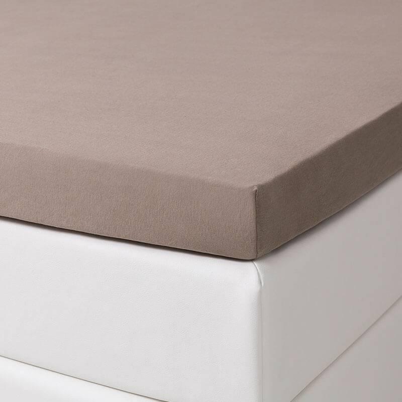 1+1 Gratis - Jersey Stretch Splittopper Hoeslakens - Taupe Dekbed Discounter 160 x 200/210 cm