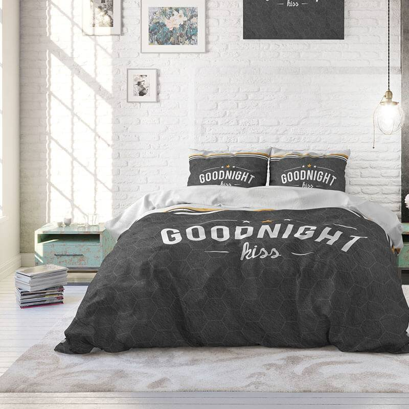 Afbeelding van Dekbedovertrek Goodnight Kiss Antraciet Dreamhouse Tekst, Patroon 1 persoons (140x220 cm)