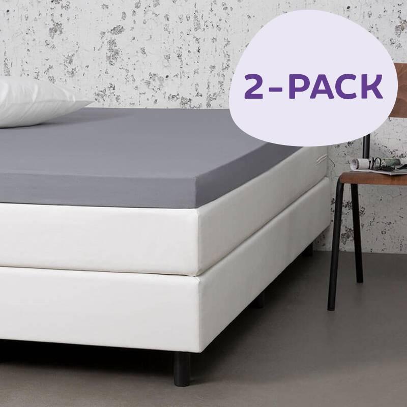 Dekbed-Discounter 2-PACK Jersey Stretch Topper Hoeslakens Kleur: Licht grijs, 100/120 x 200