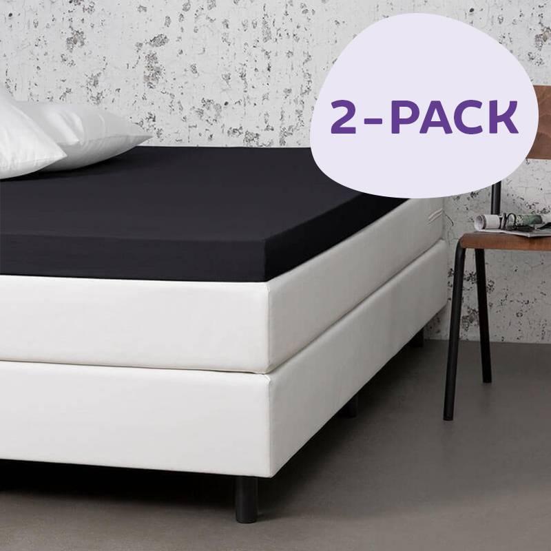 Dekbed-Discounter 2-PACK Jersey Stretch Topper Hoeslakens Kleur: Zwart, 100/120 x 200