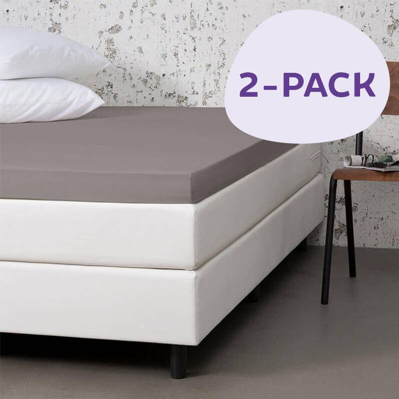 Dekbed-Discounter 2-PACK Jersey Stretch Topper Hoeslakens Kleur: Taupe, 100/120 x 200